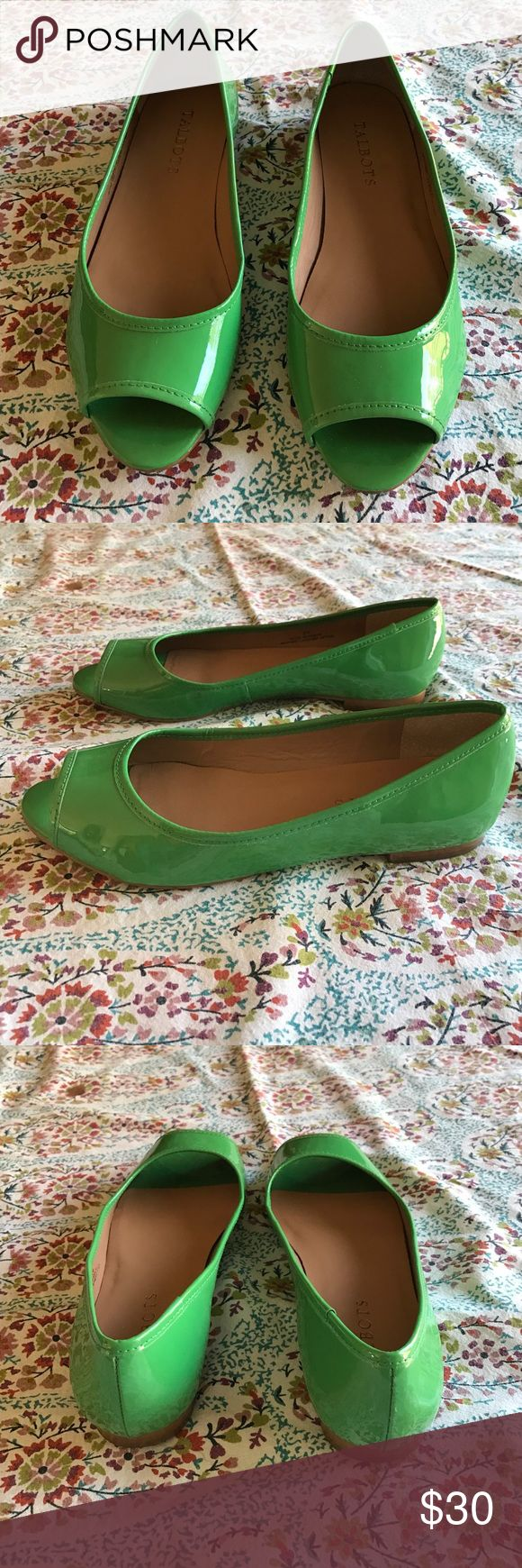 Talbots open toe flats Adorable patent leather flats from Talbots. Adorable green with brown soles. Open toes for a cute look. Cute and comfy!! Talbots Shoes Flats & Loafers