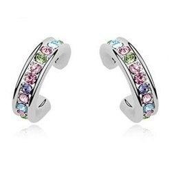 925 Stirling Silver Multicolor Rhinestone Stud Earrings Contempo Culture