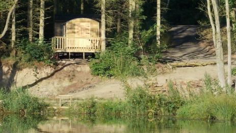 Glamping in the South Shropshire Hills overlooking a beautiful lake.