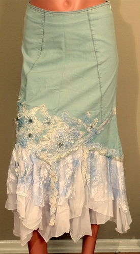 West 36th Blue Denim Jeans Floral Lace Rhinestones Glitter Beads Skirt Size L | eBay