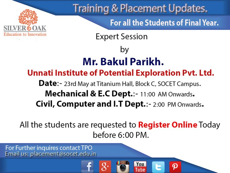 Expert Session by Mr. Bakul Parikh @ Silver Oak College Of Engineering & Technology in Titanium Hall,Block -C. To Attend the Session Register Online on - https://docs.google.com/…/1d7DS2nY8dyDfArQIfVVp5c…/viewform… #trainingandplacement #Placementupdates #silveroak #socet #ahmedabad #campusdrives #companies #technology #career