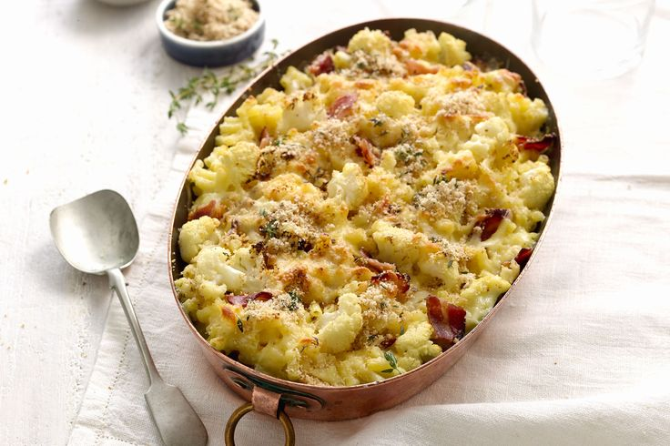 This cauliflower & bacon mac 'n' cheese bake is proudly brought t...