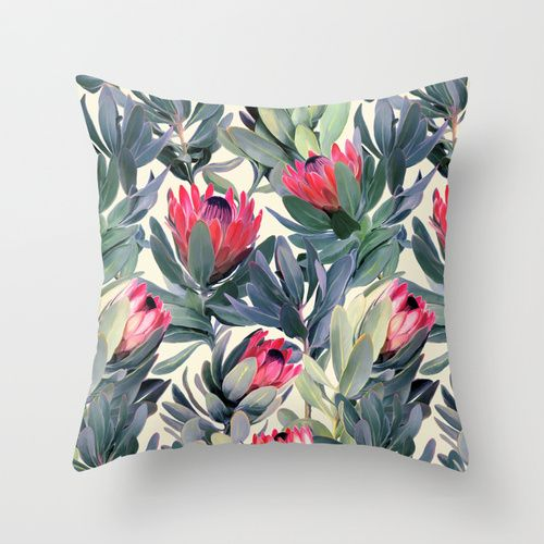 Painted Protea Pattern Throw Pillow by Micklyn | Society6 $20.00