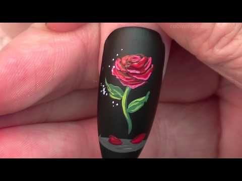 The Enchanted Rose Nails | Beauty and the Beast Nail Art Design Tutorial - YouTube