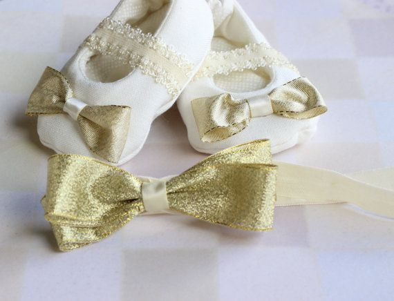 Baby girl headband set Baby gold headband Infant by LaCharDesigns, $35.00