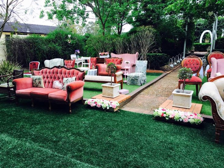 Vintage furniture collection for guest seating