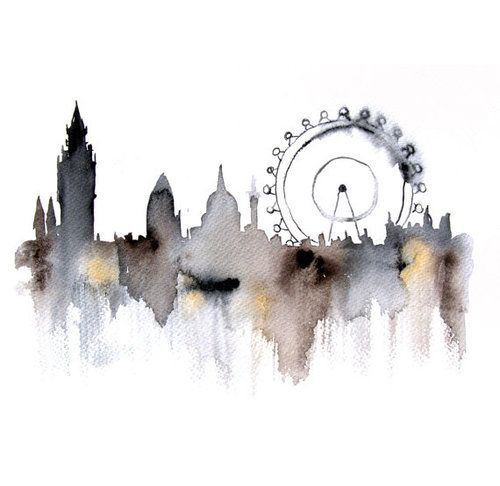 Watercolour skyline of London. Not sure how pinterest is gushing at this being Sherlock fan art . It's London, always has been