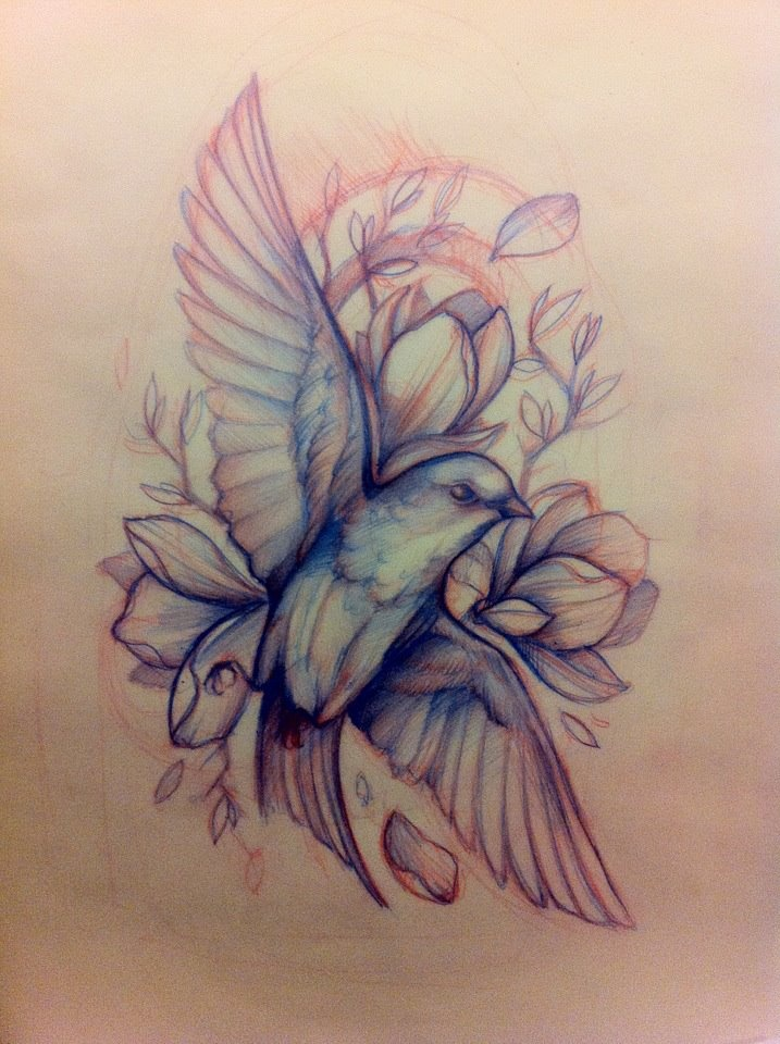 I love the lines and way this bird is done, but I'd want a lilac breasted roller and the flowers to be roses half painted red. Maybe when extending tattoo further use chessboard as a back ground