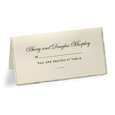 Create your own unique ecru place cards with a pearl foil stamped deckled edge.