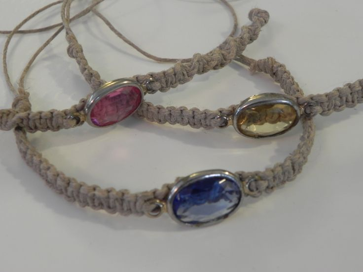 Gem Hemp Bracelets by TreasuresFromTheWood on Etsy      - centered charms recycled from broken jewelery