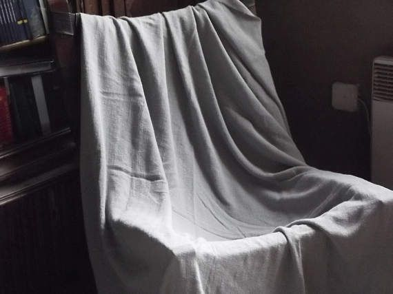 Linen bed cover. Gray linen bedspread. Light grey stonewashed