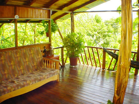 The Jungle Hut cabina has a view that extends over the rainforest tree tops