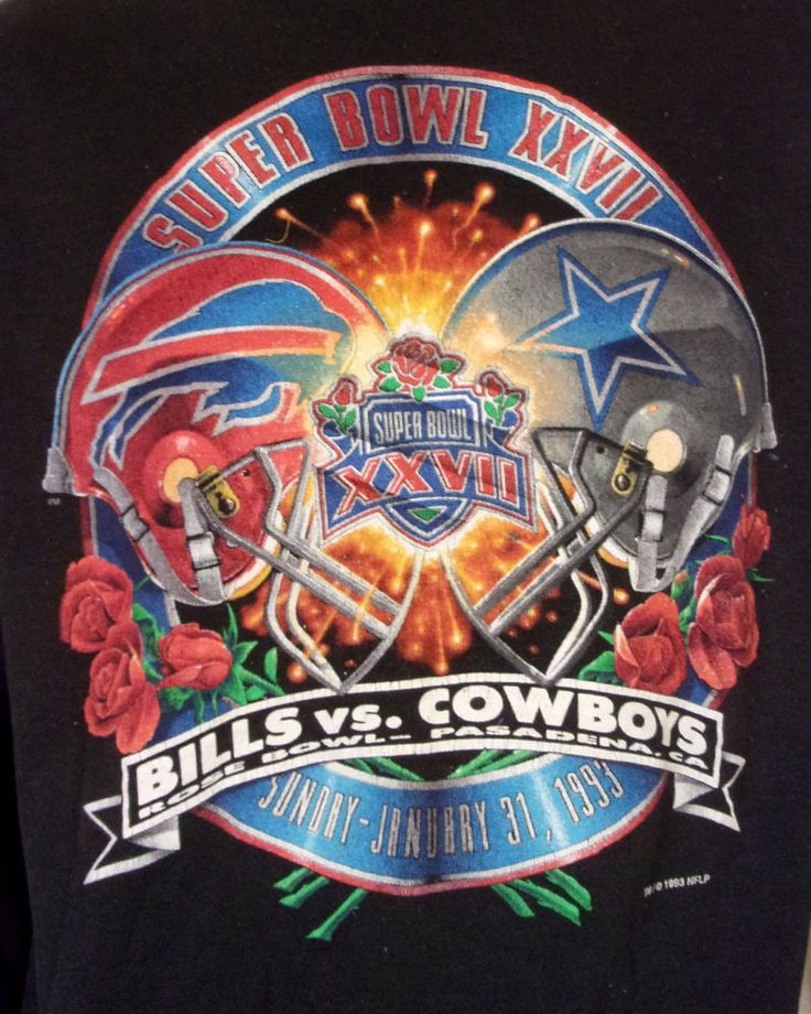 vtg 90s Super Bowl XXVII Dallas Cowboys vs Buffalo Bills Sweatshirt 1993 NFL L