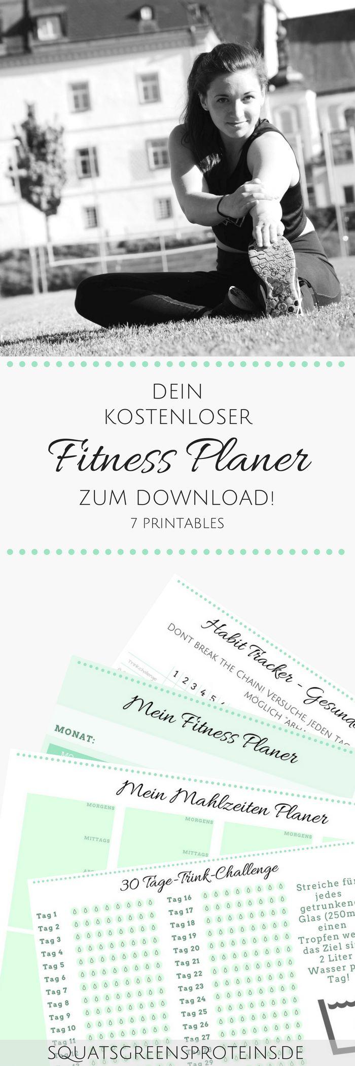Dein kostenloser Fitness Planer zum Download - Fitness Abnehmen Zunehmen Muskelaufbau Kalender - Squats, Greens & Proteins