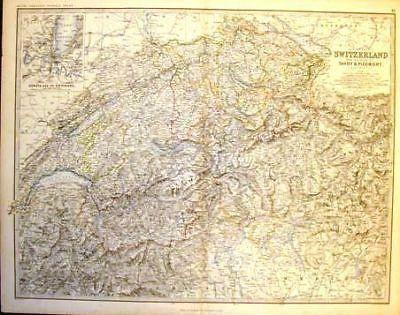 Keith Johnston's Antique Map - SWITZERLAND - c1865 - Hand-Colored