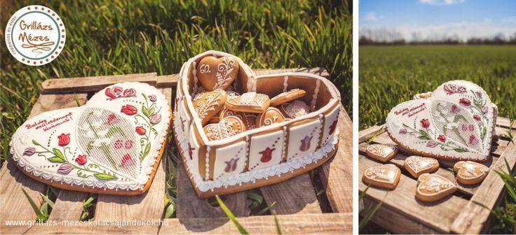 Tulipános motívummal díszített mézeskalács doboz