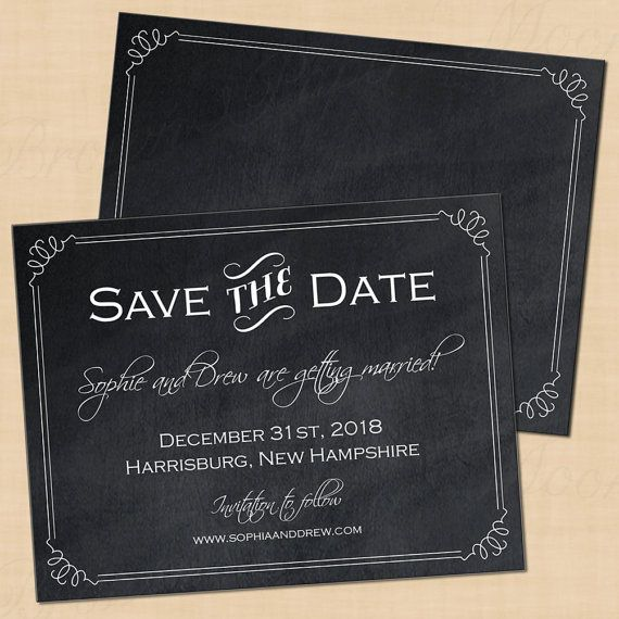 Chalkboard Bordered Text-Editable Save the by BrownPaperMoon