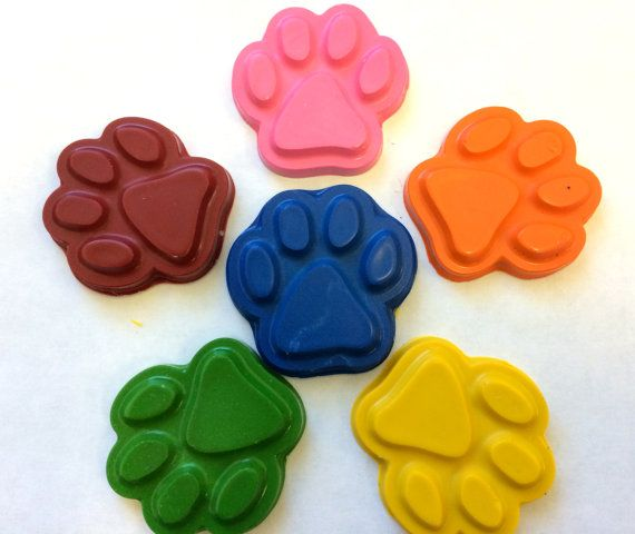 20 sets of 6 Rainbow Dog  Paw Print Patrol Crayons  Birthday Party Favors on Etsy, $33.95
