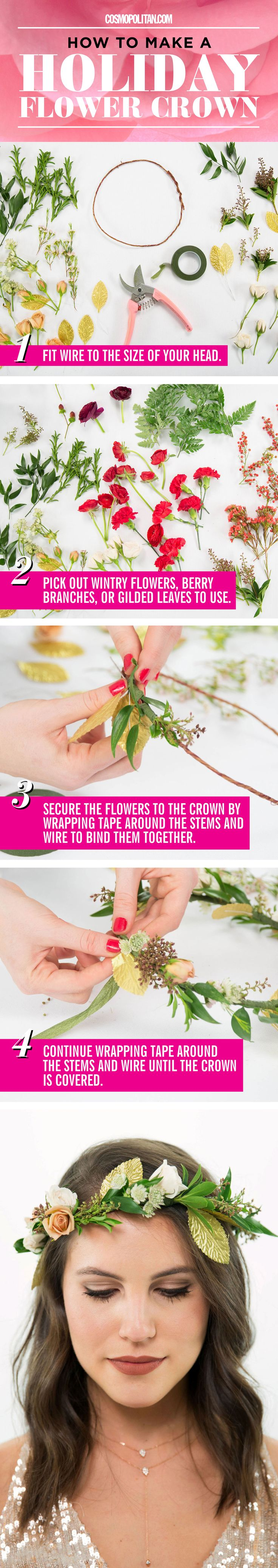 HOLIDAY FLOWER CROWN TUTORIAL: Make this ~wintry~ flower crown for holiday parties, New Year's Eve celebrations, or for any other occasion — this DIY crown works year round. Here, flower crown designer Christy Doramus of Crowns by Christy shows you how to make this festive flower crown with 3 supplies: moldable wire, floral tape, and wintry flowers, berry branches, and gilded leaves. Find the easy flower crown tutorial here!