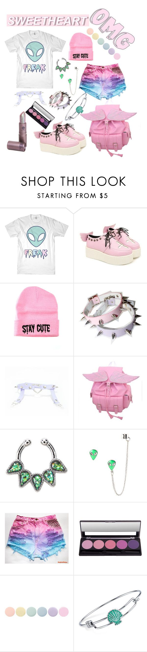 """""""pastel goth"""" by chickadeeanya ❤ liked on Polyvore featuring Stay Cute, Deborah Lippmann and Disney"""