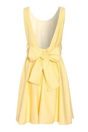 Plunging back and bow sweet yellow sundress
