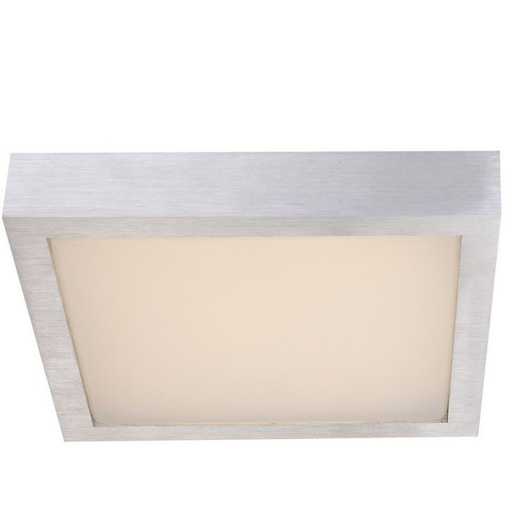 LED-Deckenleuchte - Aluminium gebürstet mit weißem Kunststoffglas, 25 x 25cm, 144 x 0,06W LED ~ 8,64Watt, 850lm 144x 0,06 Watt, 7,50 cm, 25,40 cm, 25,40 cm