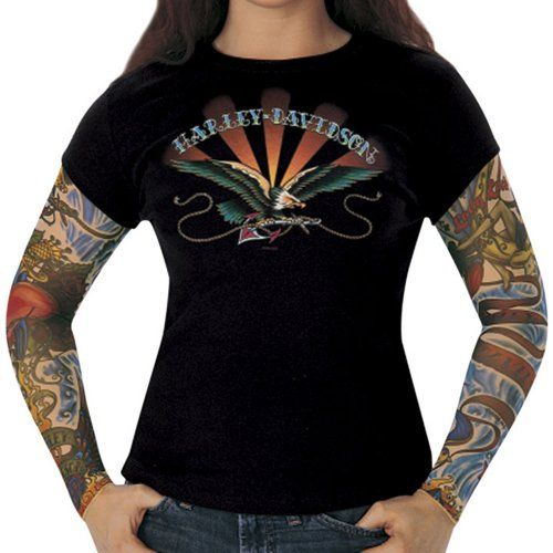 harley davidson womens anchored tattoo layer look black