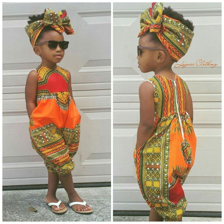 African Print jumper rompers little girl natural hair style kid fashion