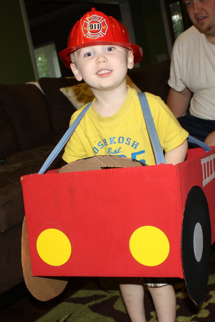 Make a firetruck with a cardboard box!  Even has a moveable steering wheel!