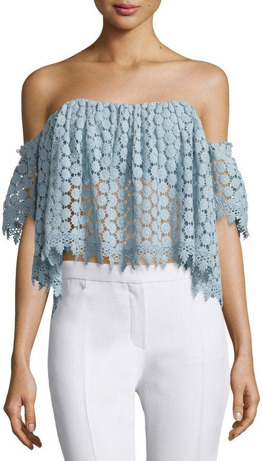 Tularosa Amelia Off-The-Shoulder Lace Crop Top, Mint