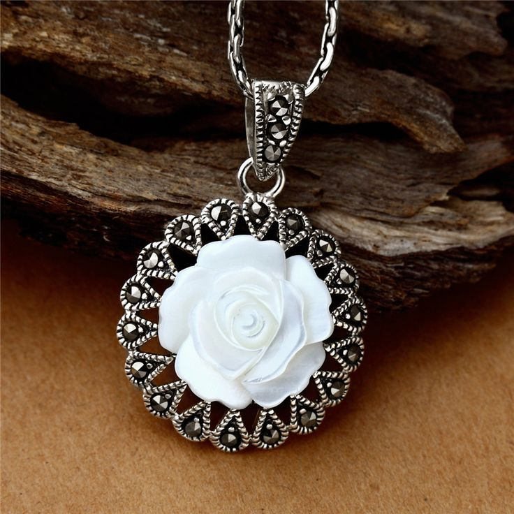 ==> [Free Shipping] Buy Best Long Baolong authentic 925 Sterling Silver Silver Rose Pendant Pendant New Lady pearl oyster Online with LOWEST Price   32446484917
