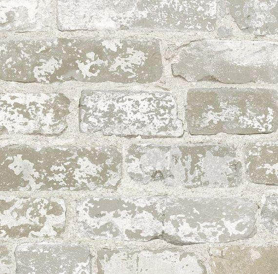 Weathered White Gray Brick Mortar Wall Distressed Stone