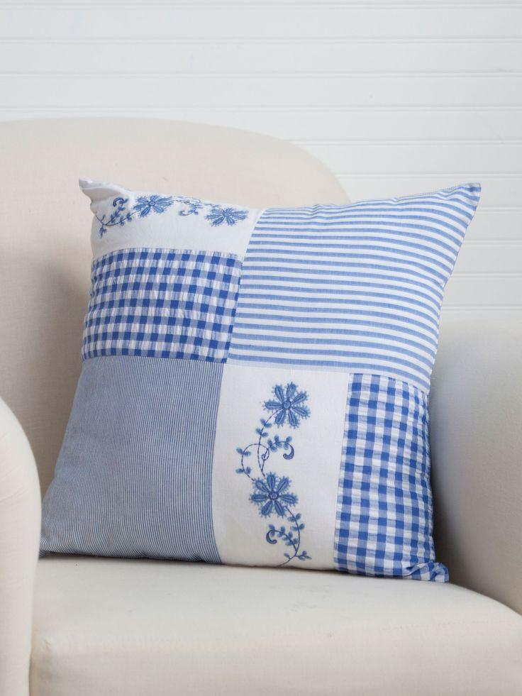 Kissen im skandinavischen Landhausstil Handarbeit Baumwolle-ca-40-x-40-cm