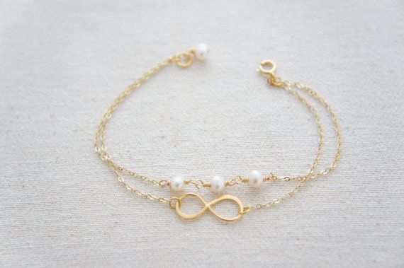 Gold or Silver infinity bracelet with pearls- bridesmaids gift, wedding, modern, casual, everday, birthday gift on Etsy, $28.00