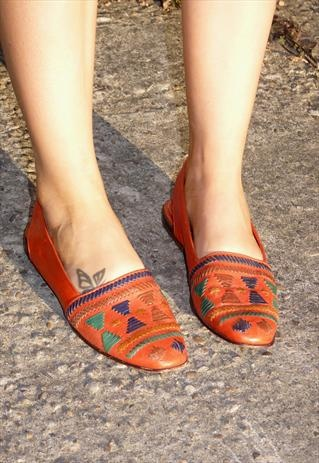 Vintage Bright Red Leather Navajo Tribal Sling Back Shoes  £25