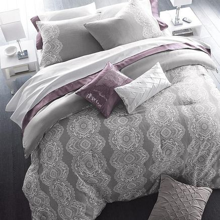 love the gray bedding, but would switch purple for yellow and blue