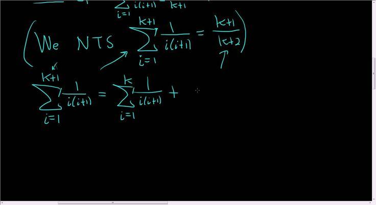 Principle of Mathematical Induction sum(1/(i(i + 1)), i = 1,..., n) = n/...