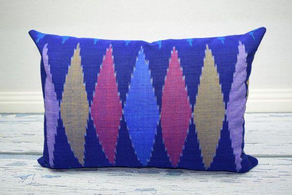 Dark blue diamond motif Ikat 13 x 20 cushion cover by IkatPikat
