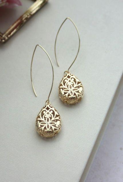 Gold Puffy Pear Filigree Earrings. Wedding Jewelry, Bridal Earring. Bridesmaid Gift. Gold Filigree Teardrop Boho Wedding By Marolsha.