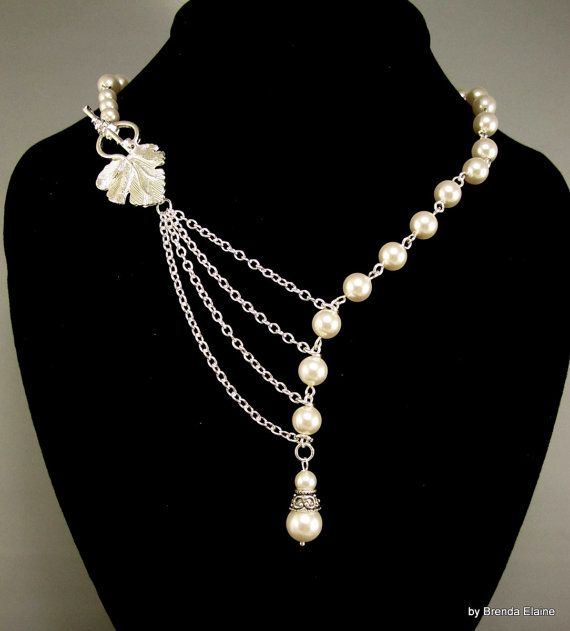 Alluring Pearls with Leaf in Silver by byBrendaElaine on Etsy, $38.00