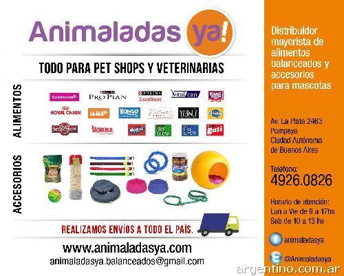 Mayorista de Alimento Balanceado y accesorios para mascotas. Animaladas Ya! en Nueva Pompeya