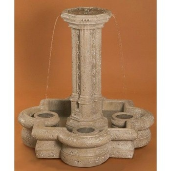 The dramatic shape and wonderful, highly audible water sound of the Small Victorian Outdoor Fountain will make it the center of your garden.  This fountain, made of durable cast stone, features a central column pouring multiple streams of water into the quatrefoil-shaped basin below.