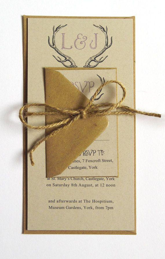 Rustic Antler Winter Woodland Wedding Invitation by STNstationery