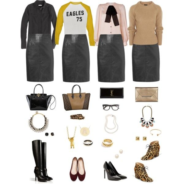 One Wardrobe Piece Styled Four Ways: Black Leather Pencil Skirt by aggregatefloss on Polyvore featuring Burberry, J.Crew, Emilio Pucci, Ralph Lauren Collection, Chloé, Yves Saint Laurent, Kate Spade, Valentino, BCBGMAXAZRIA and Gucci