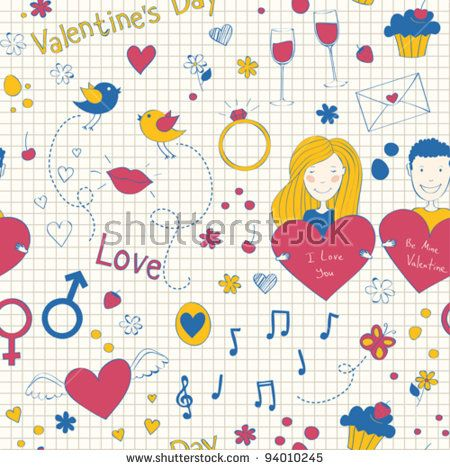 Doodle seamless with the symbols of Valentine's day