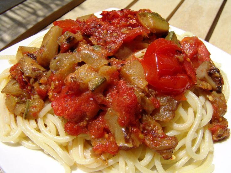 Spaghetti with vegetables makes a fantastic summer dish. It is light, very tasty, easy to make and can be enjoyed by everybody, even vegetarians, on a hot summer's day. Don't be daunted by the number of ingredients. You can use any vegetables you