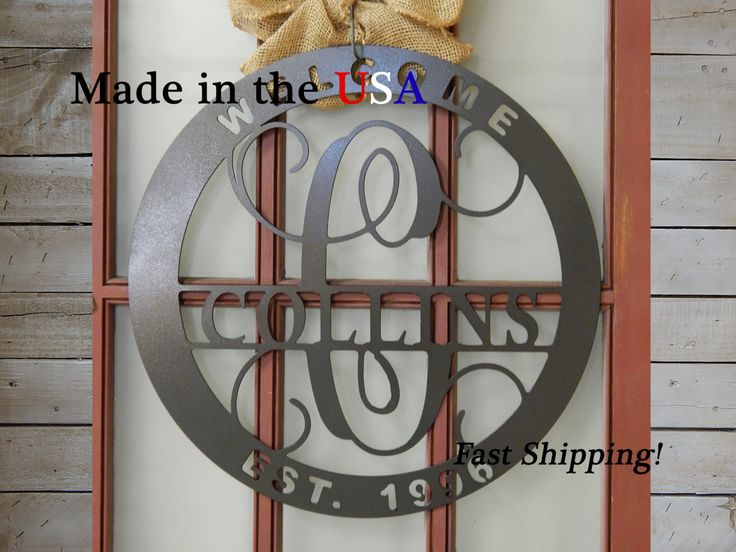 20quot welcome last name initial est year vine monogram for Metal letters for front door