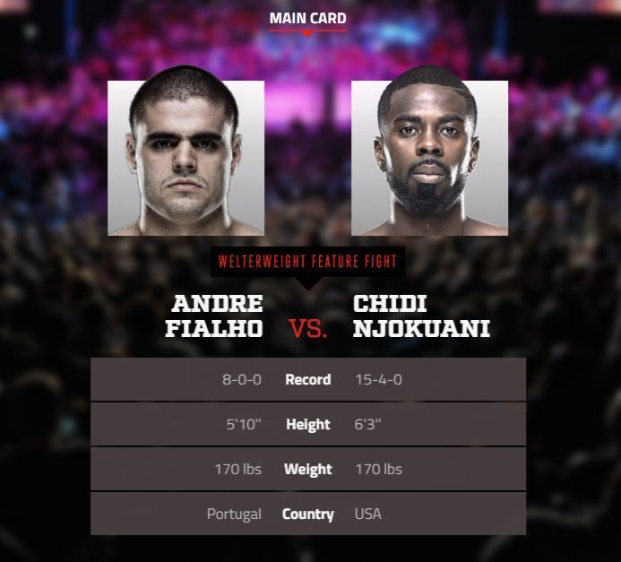 #Bellator167 is tonight! Can't wait for the #fight between Andre Fialho ( @andrefialjojr ) and Chidi Njokuani ( @chidibangnjoku )! Who do you like for this one?  #Bellator #MMA #mixedmartialarts #BellatorMMA #FialhovsNjokuani #SpikeTV #MLMMA #mustlovemma #combatsports #MMAfighter #CaldwellvsTaimanglo #boxing #kickboxing #BJJ #mixedmartialartsfighter #combat #ScottCoker #SusanCingari #welterweight #martialarts #Spike #fighter #fb #WMMA #MMAnews
