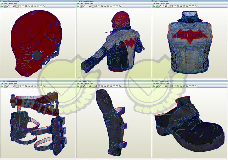 Red hood costume template pattern pepakura 3d model for Deathstroke armor template