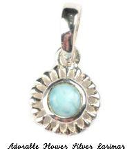 Adorable flower pendant silver larimar